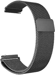 سوار ساعة سامسونج جير اس 3، لساعة جالكسي (46 ملم)، ساعة، مصنوع من الستانلس ستيل بحلقة ميلانو مع مشبك مغناطيسي قابل للتعديل لساعة جير اس 3 كلاسيك/ فرونتير الذكية، اسود