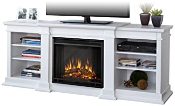 Charmant Real Flame G1200E W Fresno Entertainment Unit With Electric Fireplace,  Large, White