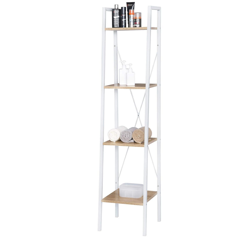 eSituro Shelving Unit Multifunctional Storage Shelves Ladder Shelves 4 Tiers Shelves for Bedroom Metal and MDF