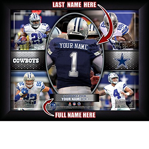 Dallas Cowboys Personalized NFL Football Number One Draft Pick Action Autograph Collage Framed Art Print 13x16 Inches