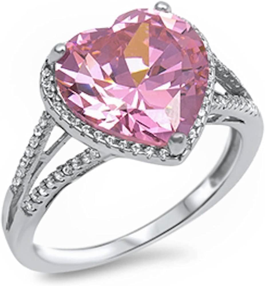Oxford Diamond Co Solid Pink Cz Heart & Cz Love Promise .925 Sterling Silver Ring Sizes 5-11