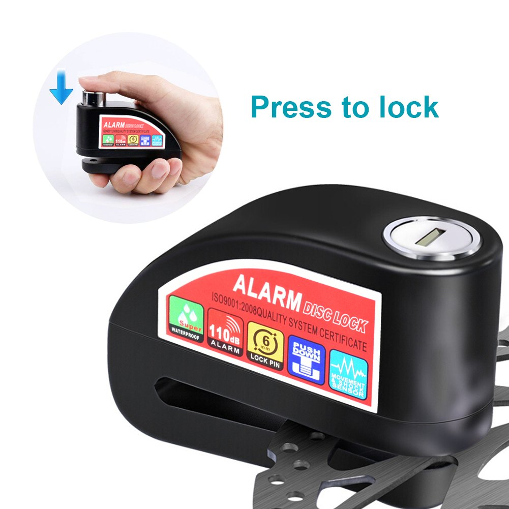Waterproof Security Padlock with 7mm Pin Brake Disc And 1.5m Reminder Cable//3 Keys //6 Set Battery//Carry Pouch Disc Brake Lock BUDDYGO Anti-theft Bicycles//Motorcycle Lock With 110dB Alarm Sound