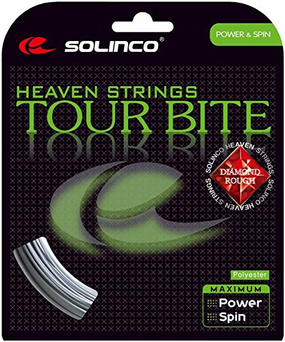 (Solinco Tour Bite Diamond Rough Tennis String Set-17G-Silver )