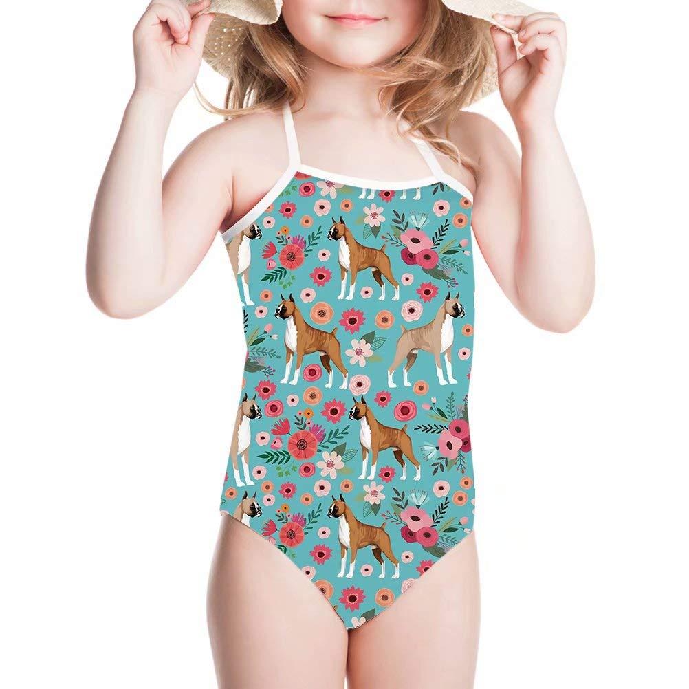 Tsinson Little Girls Printing Swimsuit Beach Sporty One Piece Swimwear Bathing Suit