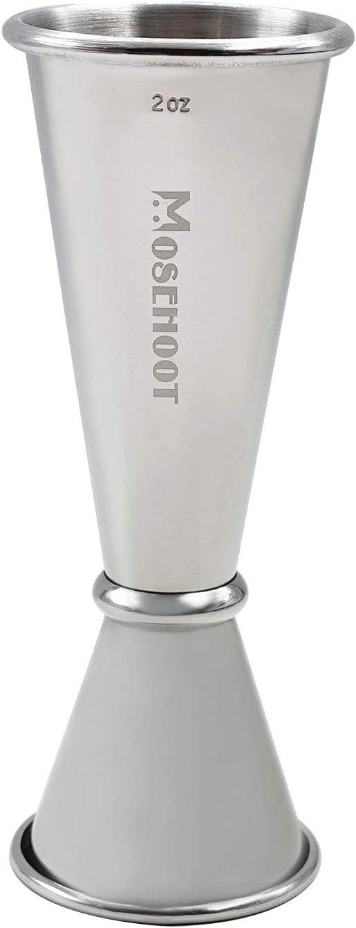 Japanese Jigger 2 oz 1 oz - MOSEHOOT Jigger for Bartending, Stainless Steel Bar Alcohol Measuring Tools - Silver