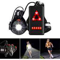 ALOVECO Night Running Lights for Runners, 90° Adjustable Beam LED Chest Light Back Warning Light, Lightweight Trail Running Lights Rechargeable for Camping, Hiking, Running, Jogging, Outdoor Adventure