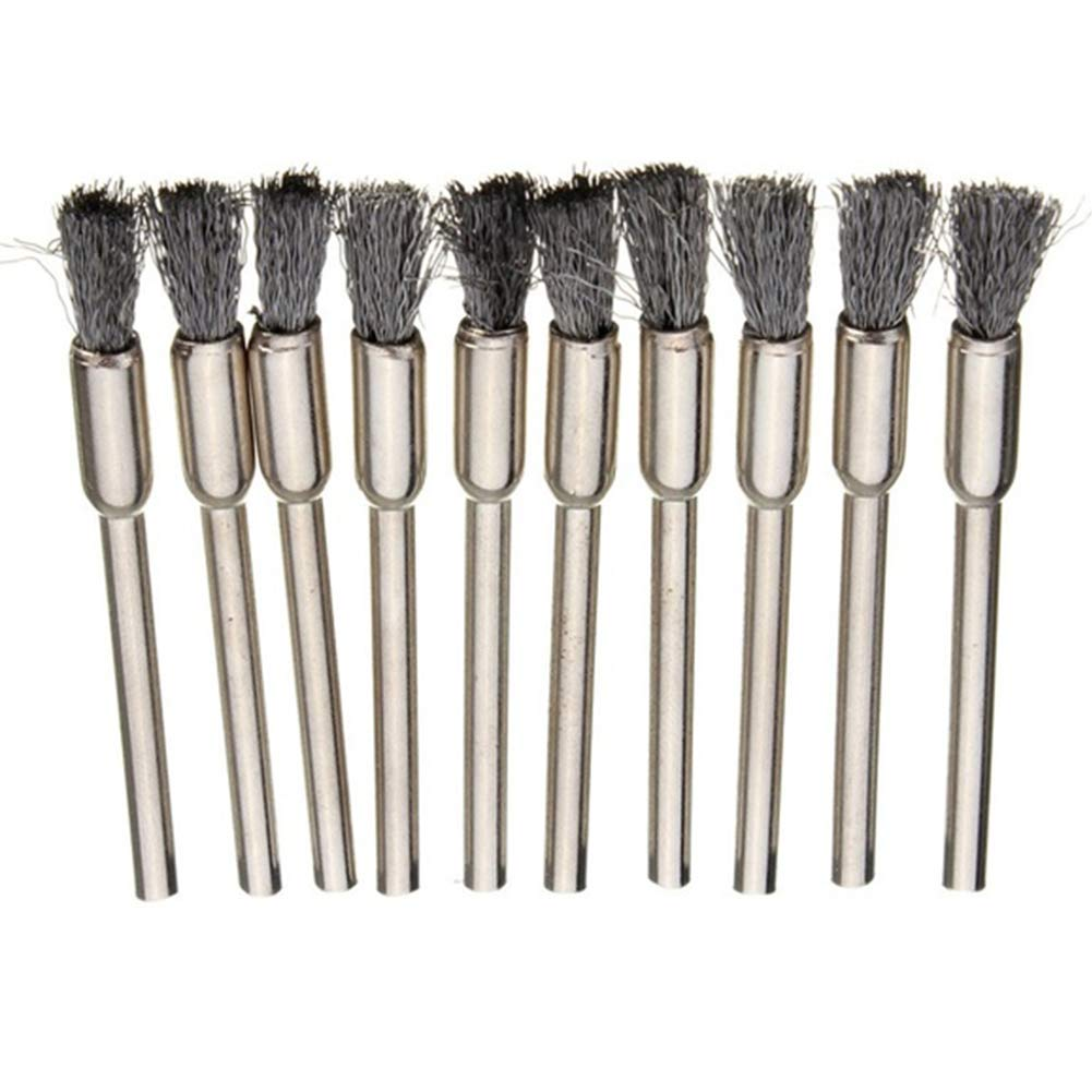 BONNIO 10 pcs//set Steel Wire Brushes Polishing Wheel Brush Tools Brushed Burr Polishing Rotary Tool