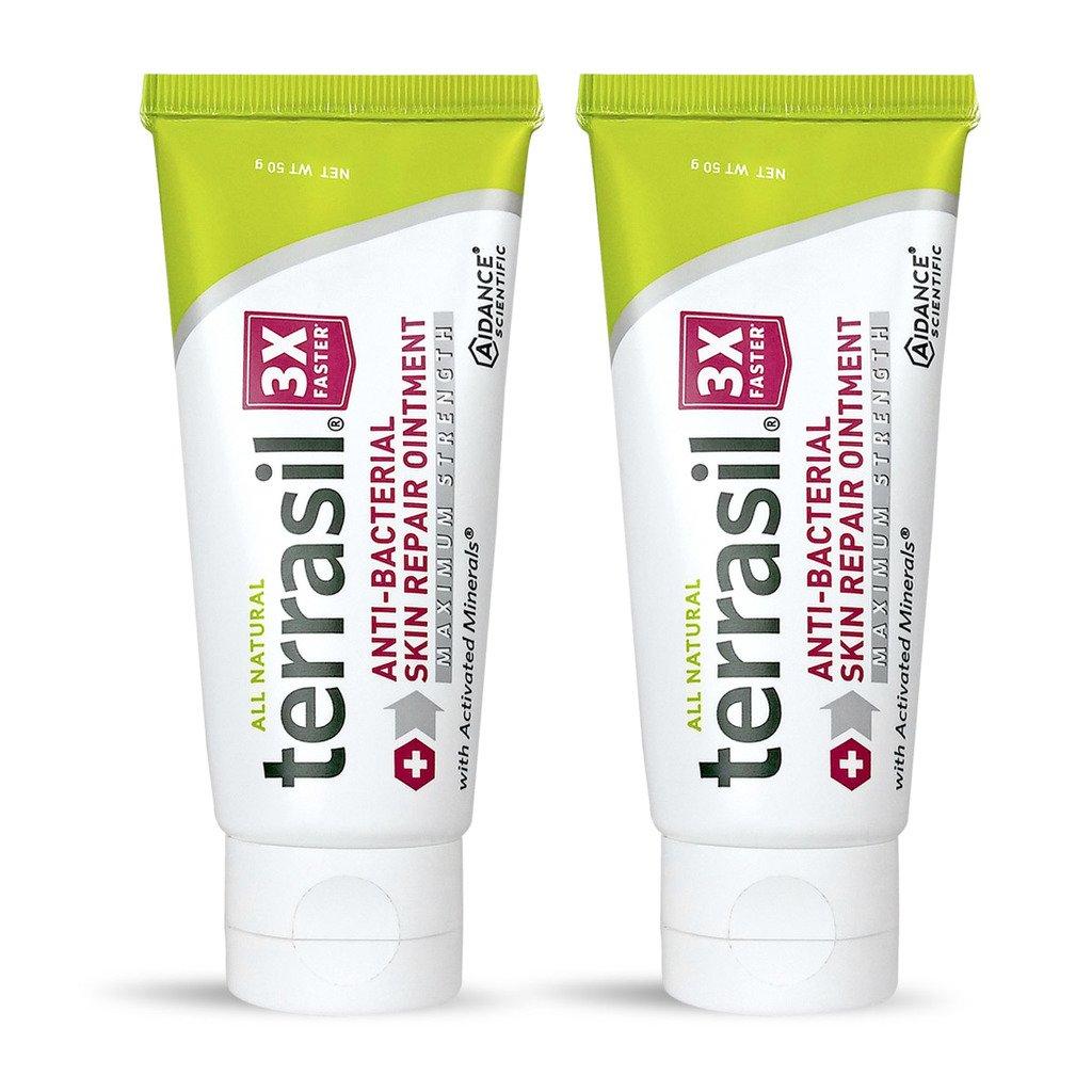 Antibacterial Skin Repair 3X Faster Dr. Recommended All Natural Fissures Folliculitis Angular Cheilitis Impetigo Chilblains Lichen Sclerosus Boils Cellulitis by Terrasil® (50 gram tube max 2 pack)