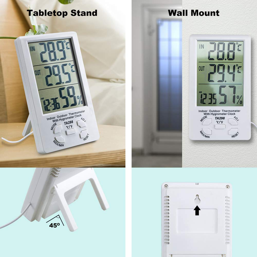 White Saftybay Digital Thermometer Hygrometer for Indoor Use,Temperature Humidity Monitor with LCD Screen Alarm Clock
