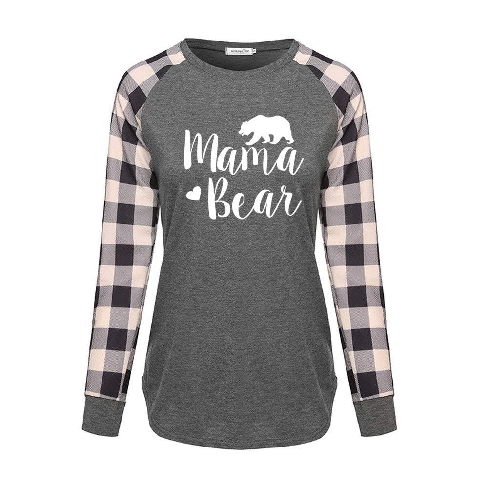 shifeier Raglan Sleeve T-Shirt Mama Bear Jersey Tunic Tops
