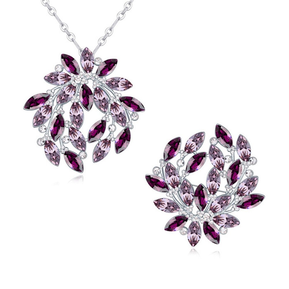 Topro Swarovski Elements ''Shining Life''Special Style Crystal Jewelry Sets Color Purple