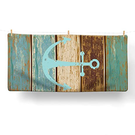 Nautical Anchor Bathroom Towel, Uphome Vintage Retro Cotton Microfiber  Turquoise And Brown Ultra Soft Hotel