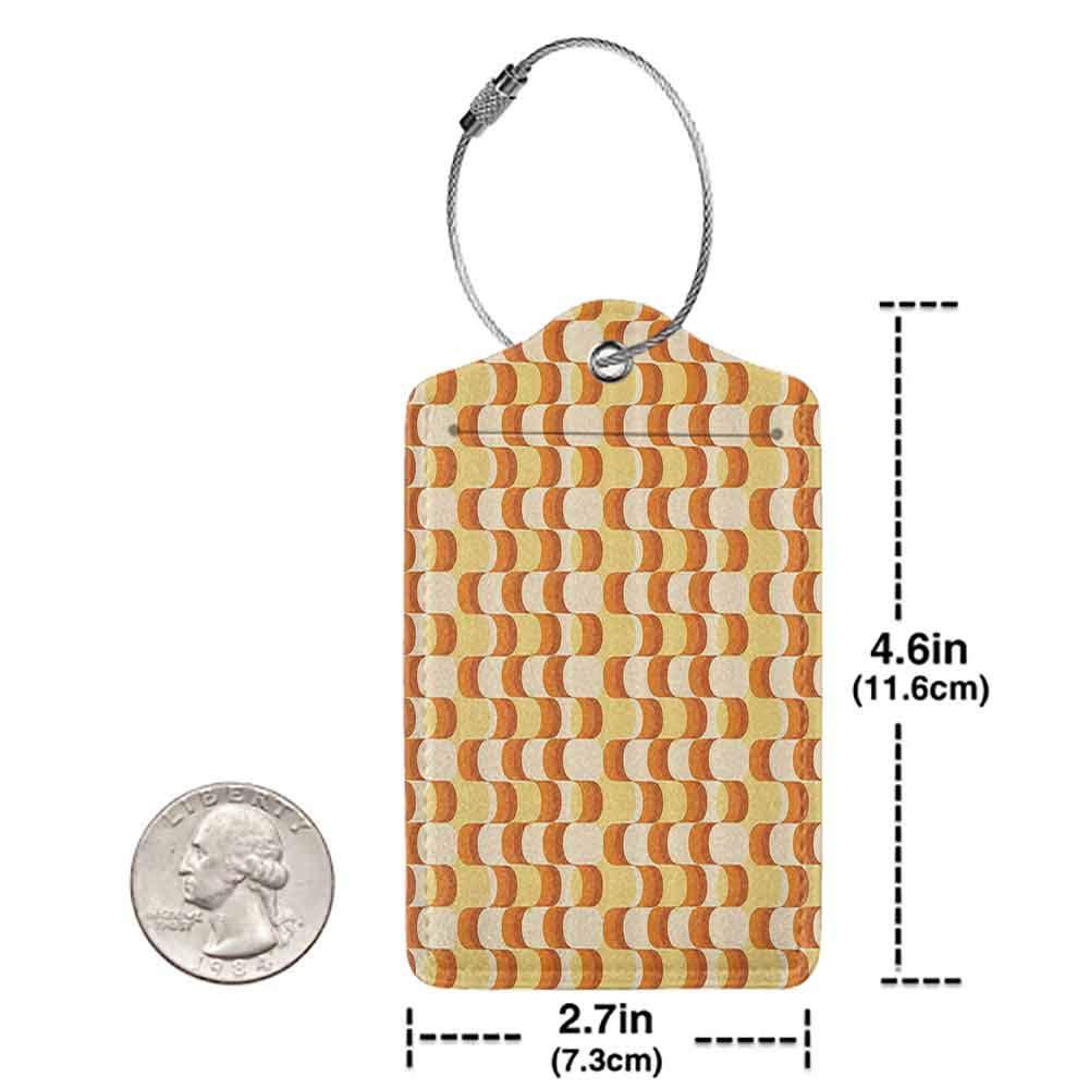 Flexible luggage tag Retro Wavy Pattern Half Moon Shapes Vintage Art Graphic Design in Different Tones Fashion match Orange Yellow Dust W2.7 x L4.6