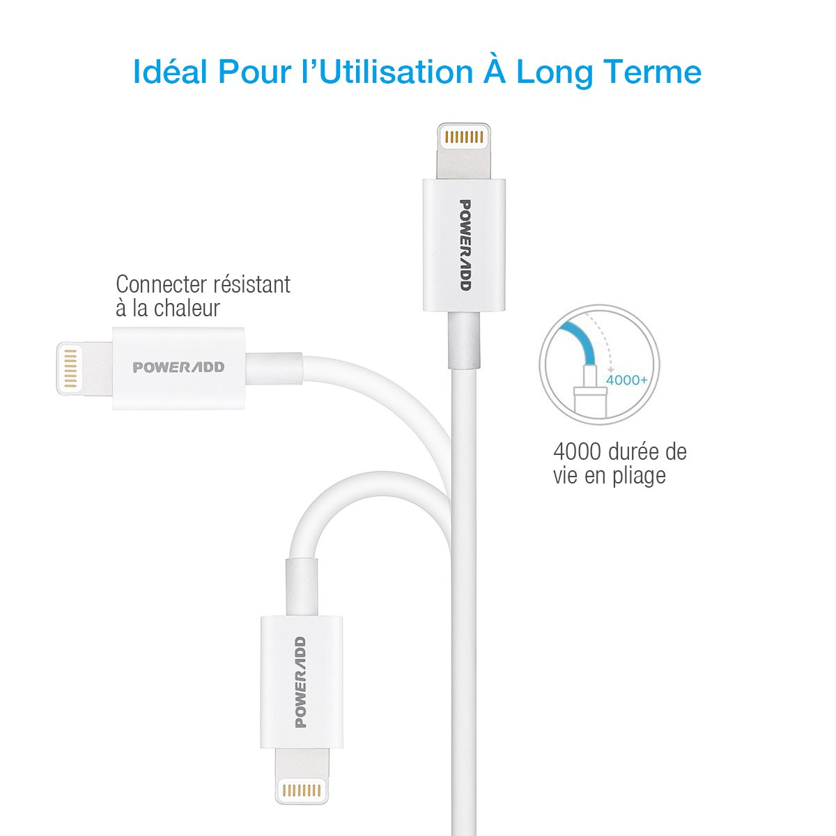 Poweradd 8-pin chargeur iPhone, Câble Lightning vers USB[Apple MFI Certified] et Synchronisation vers Lightning pour iPhone 7/ 6s / iPad Pro/ iPad Air/ iPod Touch 5th gen et Des Autres -1 m Blanc
