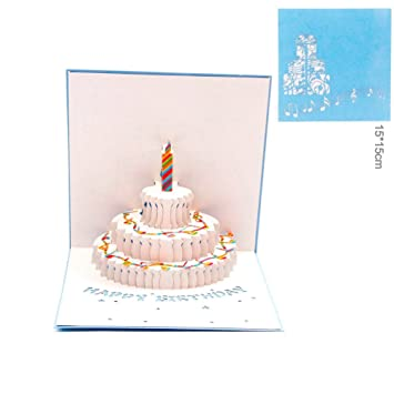 Amazon Paper Spiritz Happy Birthday Card Of Piano And Cake 3d