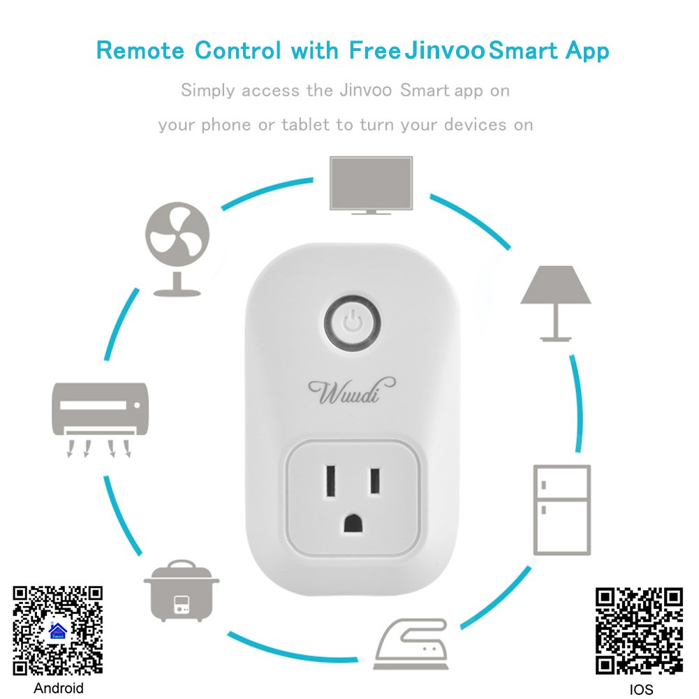 Wifi Smart Plug Wuudi Wireless Outlet No Hub Required Smart Timing Socket, Wireless Remote Control Your Devices Work with Alexa (2 Packs) by Wuudi (Image #7)