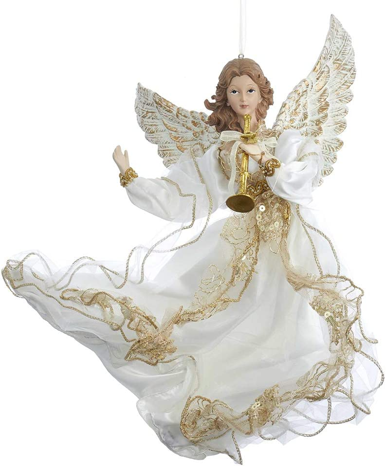 Kurt S. Adler J6064 Ornament, Ivory, White, Gold