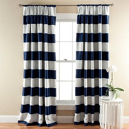 Amazon.com: Lush Décor Stripe Room Darkening Window Curtain Panel ...