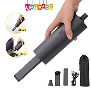 Cordless Hand Vacuum, Wireless Handheld Vacuum/Blower Cleaner 2-in-1, Mini Rechargeable Cordless 35w USB Quick Charge Tech Lightweight Vacuum for Home, Pet Hair, Car[Upgraded 2019] (Matte Black)