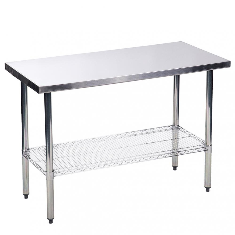 BestMassage Kitchen Work Table Stainless Steel 24x48 inch Work Table Heavy Duty Commercial Home Kitchen Prep Restaurant Wire Lower Shelf Adjustable Bullet Feet Table