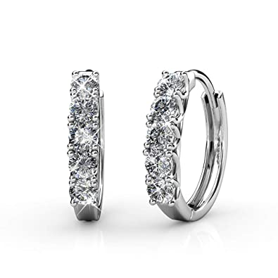 68c5e753c6 Small Hoop earring swarovski cristal white gold 18k mothers day gifts:  Amazon.ca: Jewelry