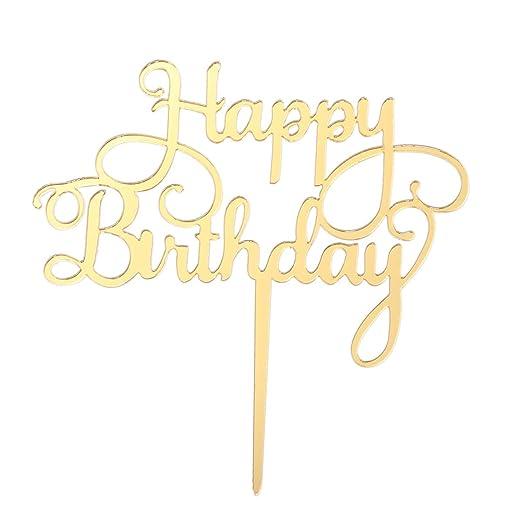Amosfun 2PCS Feliz cumpleaños Cake Topper Birthday Cake ...