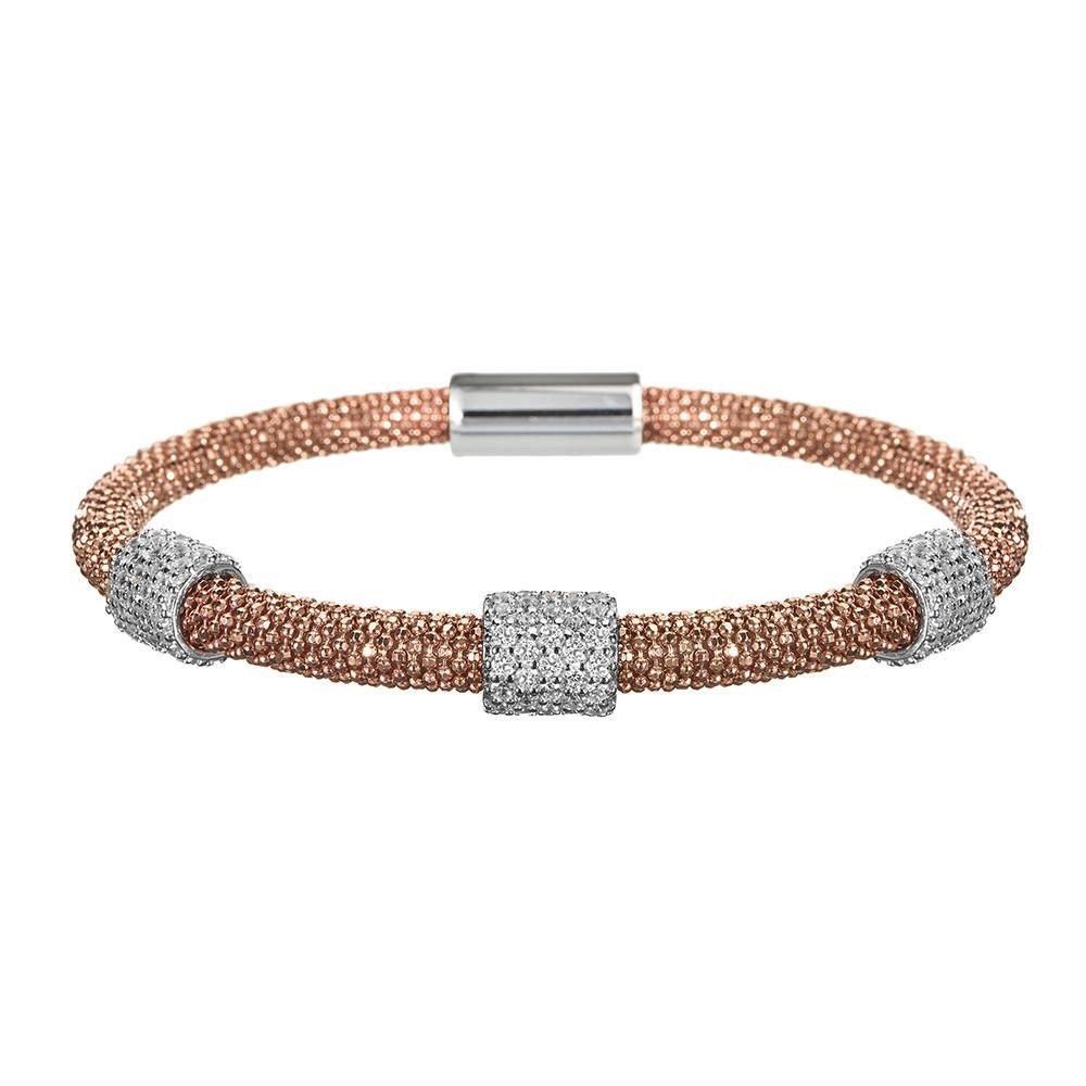 Vamp London Mesh Rose Gold 3 Cluster Bracelet   B077YRQNT8