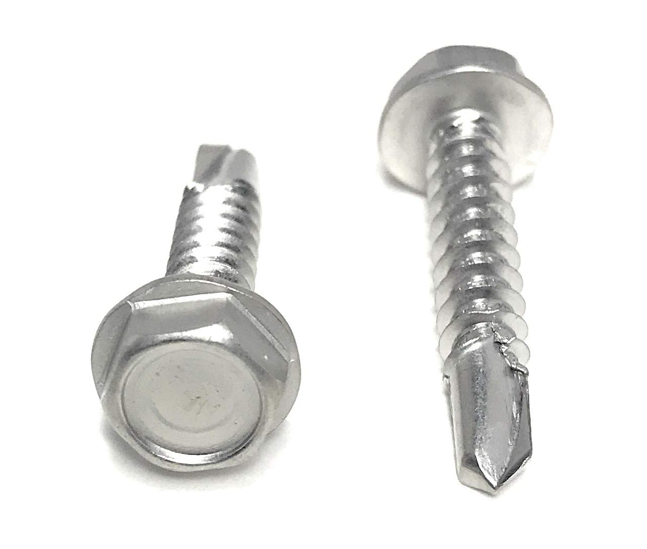 "#10x1"" Stainless Steel Hex Washer Head Self Drilling Tapping TEK Screw (410 Stainless Steel) 100 Pieces 10x1"