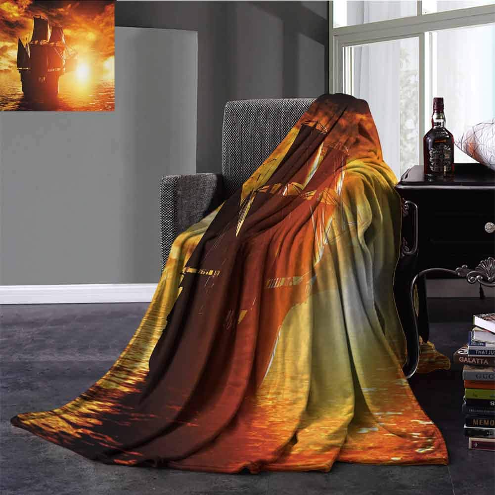 """Flyerer Pirate Ship Digital Printing Blanket Ancient Pirate Ship Sailing on The Ocean at Sunset in Full Sail Print Warm Microfiber All Season Blanket for Bed or Couch 50""""x30"""""""