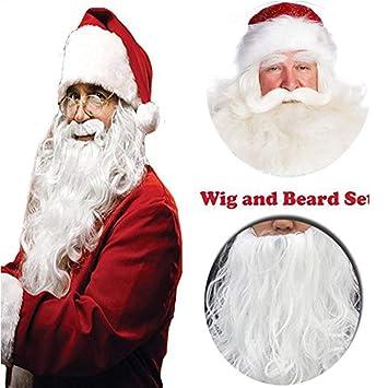 RATWIFE Set Cosplay Peluca Blanca Prom Barba Peluca Grande ambas Piezas de Santa Barba Peluca Pelucas