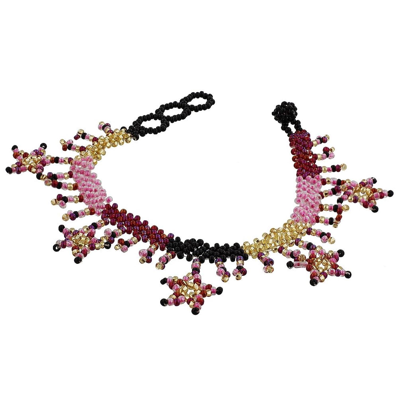 Gem Avenue Multicolor Seed Beads Dangling Star 9 inch Long Ankle Bracelet