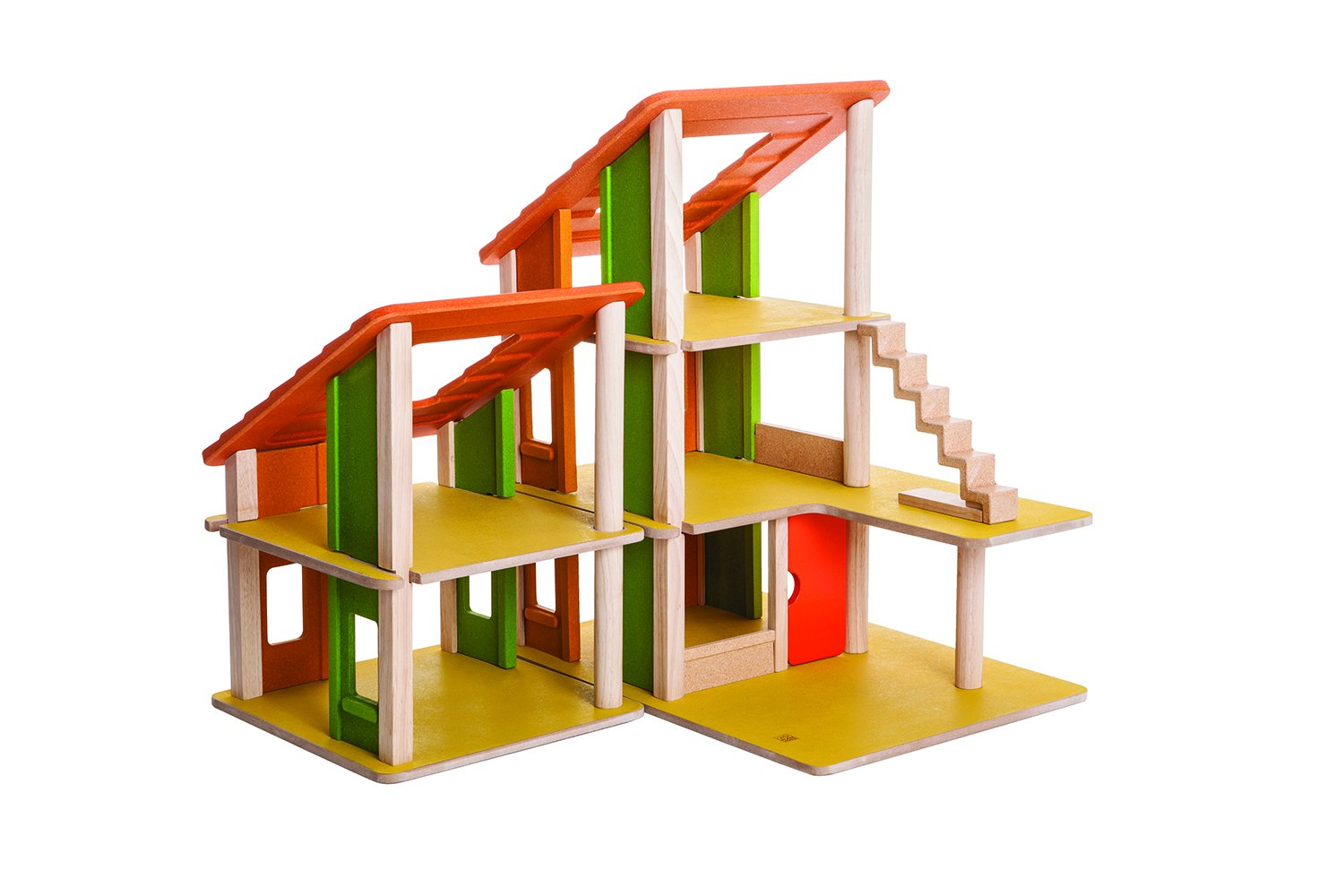 amazoncom plan toys chalet dollhouse without furniture toys  games -