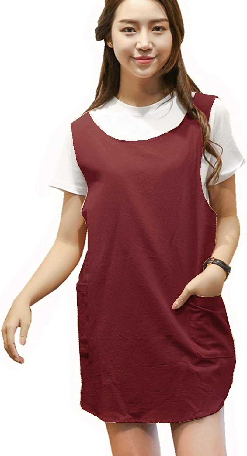 BBYBBS Soft Cotton Linen Apron Solid Color Halter Cross Bandage Shortened Design Aprons Japanese Style X Shape Double Pockets Round Skirt Kitchen Cooking Clothes Chef Summer Fit (DarkRed)