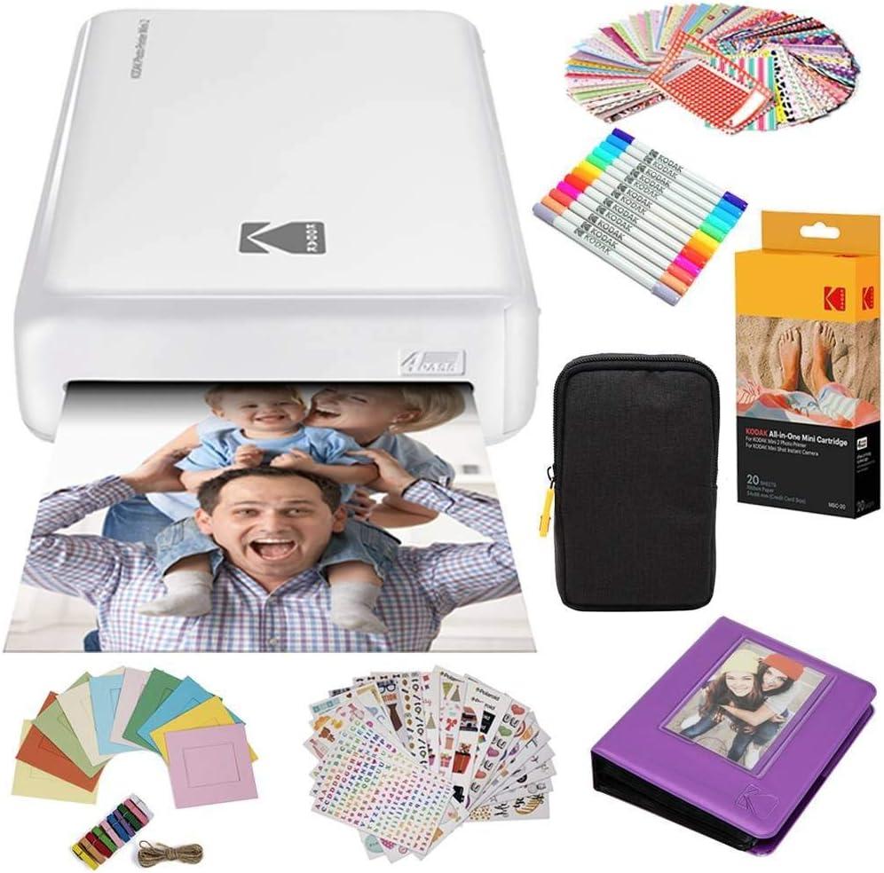 Kodak AMZKODMP2K3W Mini2 Instant Photo Printer (White) Gift Bundle + Paper (20 Sheets) + Deluxe Case + 7 Fun Sticker Sets + Twin Tip Markers + Photo Album + Hanging Frames