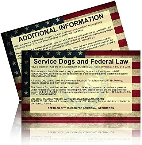 Service Dog Info Cards - 50 ADA Service Dog Information Cards State Your Legal Rights - Hand out to those unfamiliar with service dogs.