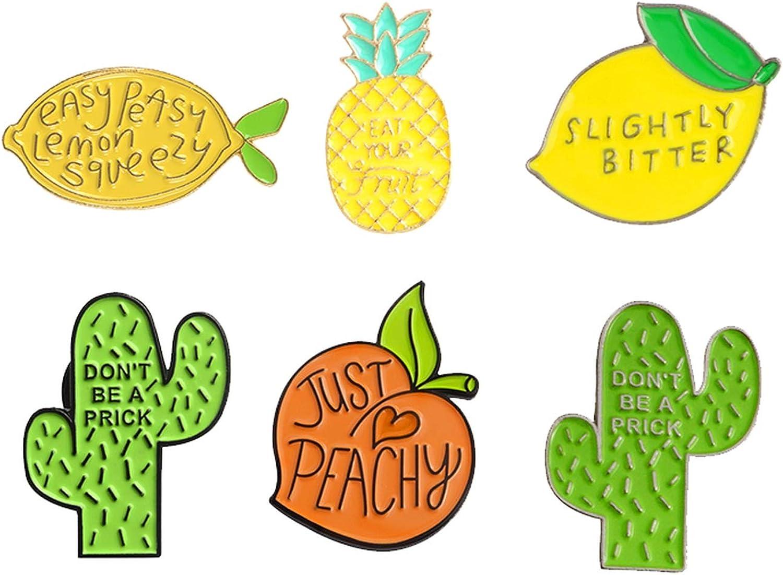 Chllrg Lemon Peach Pineapple Cactus Enamel pin Plant Fruit Badge Brooch Lapel pin Denim Jean Shirt Bag Cartoon Jewelry Gift for Kids