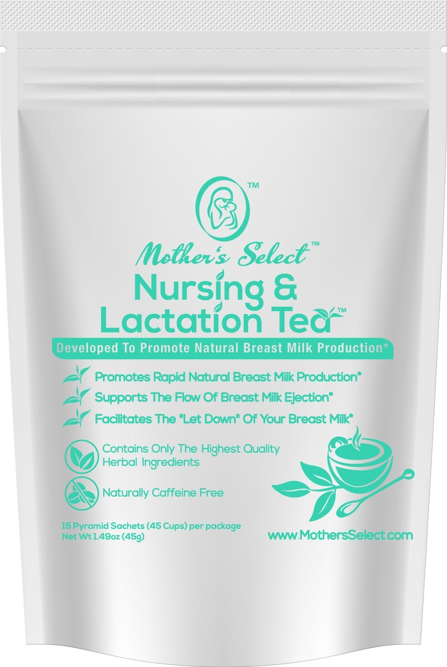 Nursing & Lactation Tea Sachets by Mother's Select to Increase Breast Milk Supply, All Natural, Caffeine-Free Nursing Tea Bags, with Fenugreek, Blessed Thistle, Fennel Seed & More for Breastfeeding! by Mama's Select
