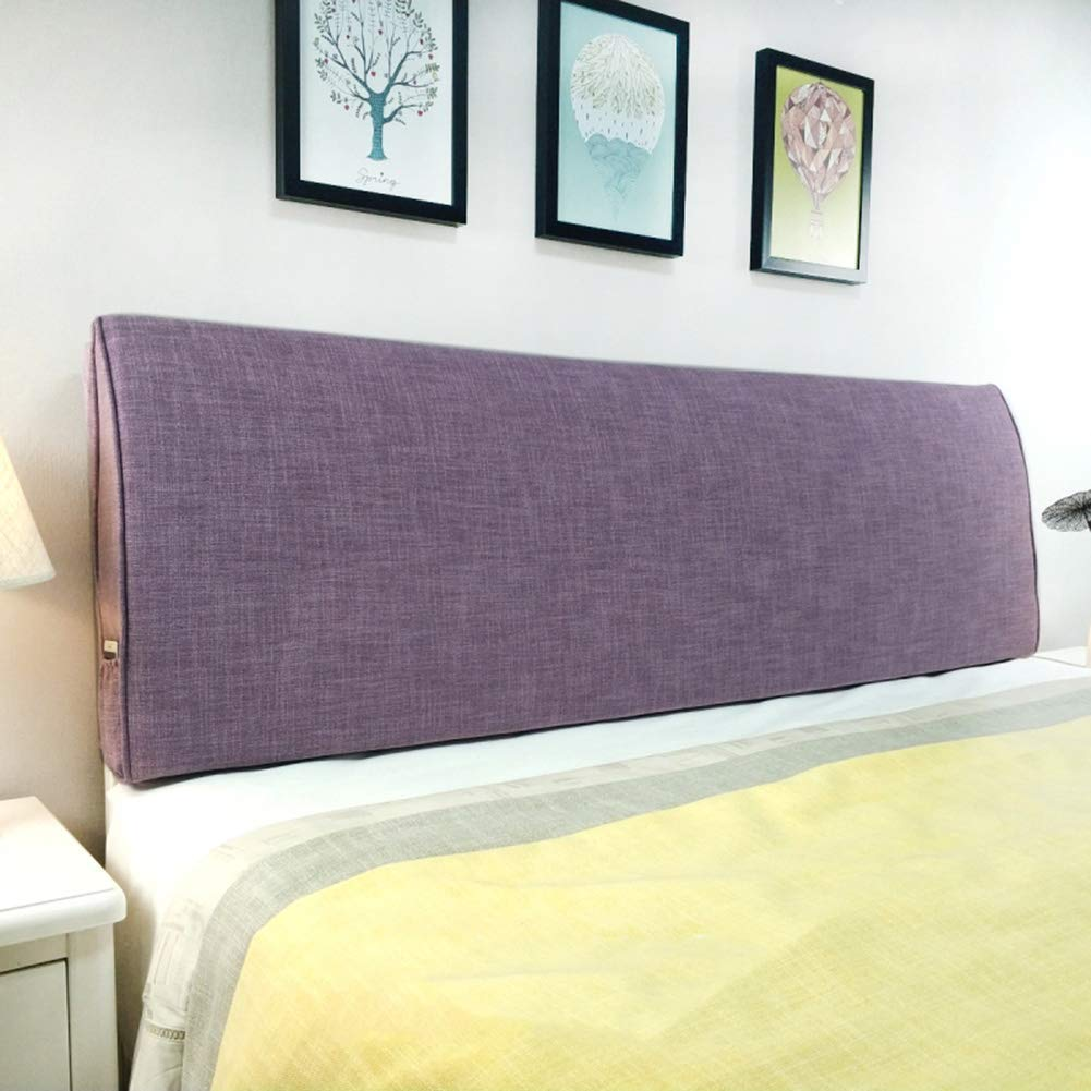 PENGFEI Cushion Bed Backrest Headboard Soft Cover Waist Relaxation Washable, with/Without Headboard Standard, 4 Colors, 9 Size (Color : Purple with Headboard, Size : 90CM)