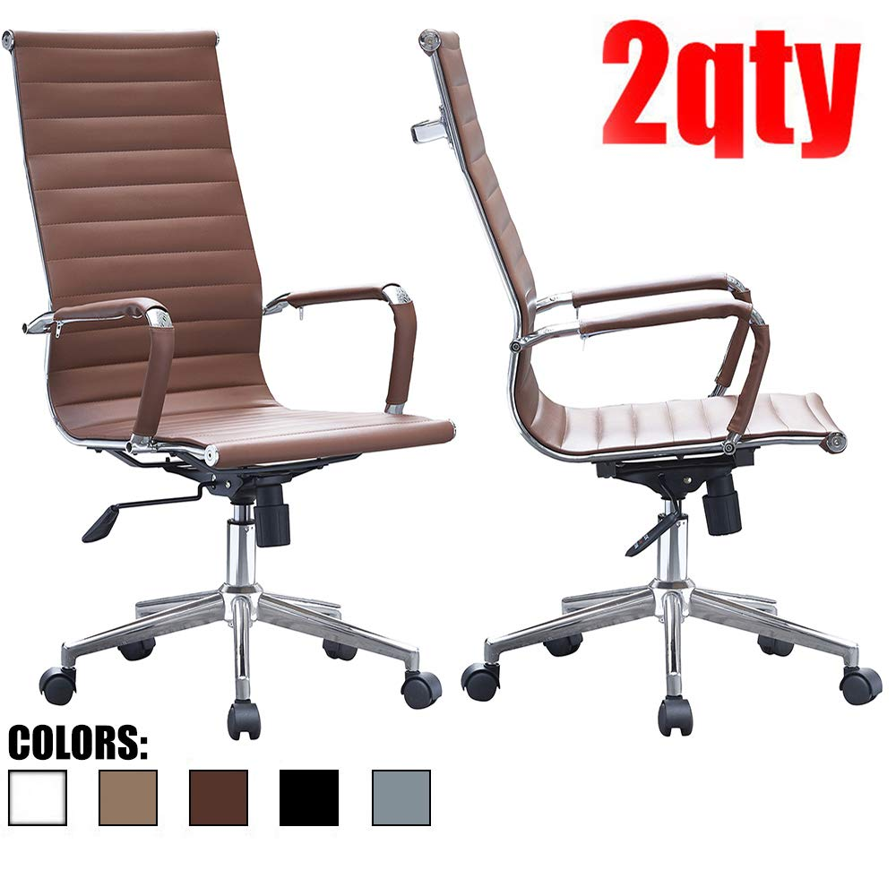 2xhome – Set of Two 2 – Brown – Modern High Back Tall Ribbed PU Leather Swivel Tilt Adjustable Chair Designer Boss Executive Management Manager Office Conference Room Work Task Computer