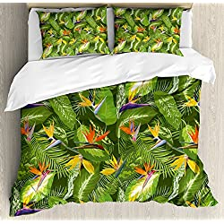 Ambesonne Leaf Duvet Cover Set King Size, Fresh Brazilian Forest Untouched Jungle Paradise Tropical Foliage Flowers, Decorative 3 Piece Bedding Set with 2 Pillow Shams, Green Yellow Orange