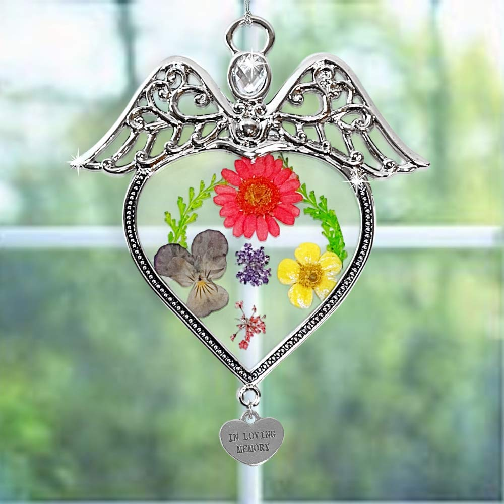 BANBERRY DESIGNS in Loving Memory Angel Stained Glass with Flowers Suncatcher Glass Window Remembrance Ornament