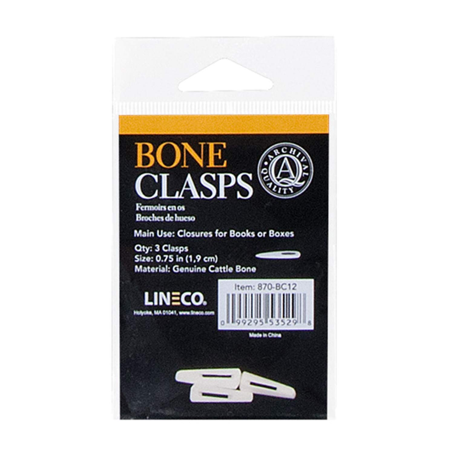 Lineco Bone Clasps for Book or Box Closure, 3/4 inches, Package of 3 (870-BC12)