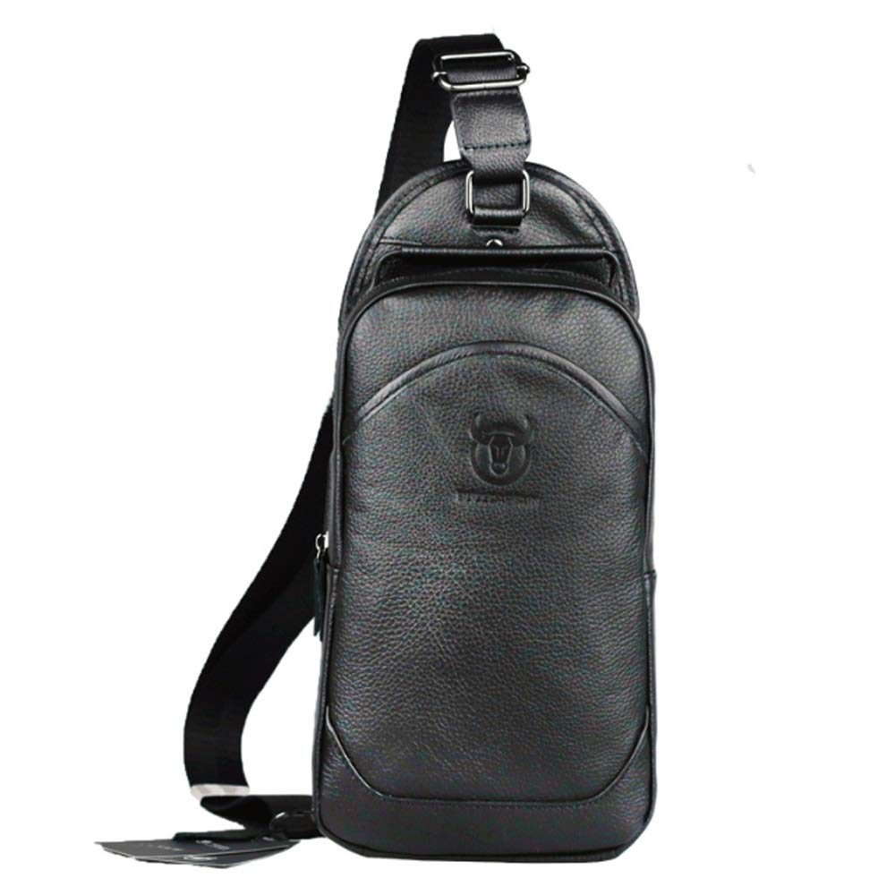 TongLing Mens Chest Bag Portable Leather Chest Bag Leather Shoulder Slungs Casual Sports Front Backpack Men Front Chest Bag Trend Color : Black, Size : M