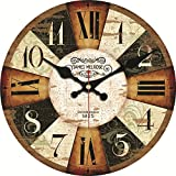 Cheap MEISTAR 16 Inch Wall Clock Silent Non Ticking no Frame Antique Vintage Rustic Colorful Tuscan Country Style Easy to Read Decoration Bar, Cafe