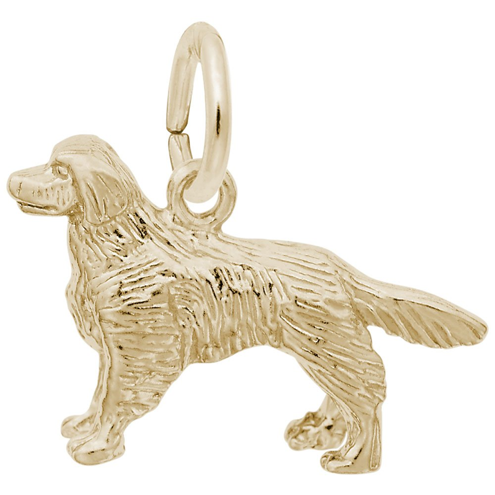 10k Yellow Gold Golden Retriever Charm, Charms for Bracelets and Necklaces