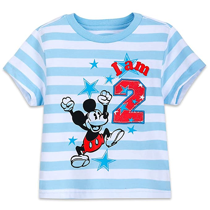 Disney Mickey Mouse Birthday Tee Boys Size 12 18 MO Blue