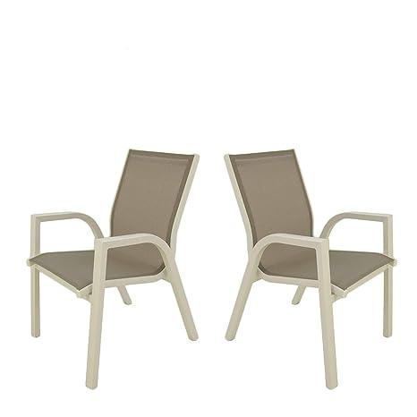 Edenjardi Pack 2 sillones de Exterior apilables | Tamaño ...