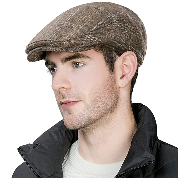 d2c3885f1e4 Siggi Wool Tweed Flat Cap Ivy Hat with Ear Flaps Warmer Winter Earflap  Hunting Trapper Hat for Men  Amazon.co.uk  Clothing