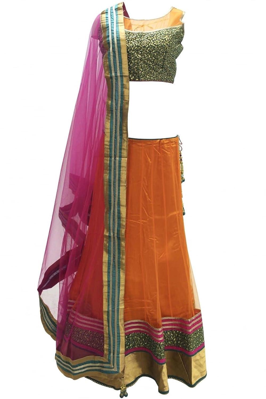 DCC2315 Orange and Hot Pink Traditional Chaniya Choli Indian Bollywood Lengha Choli