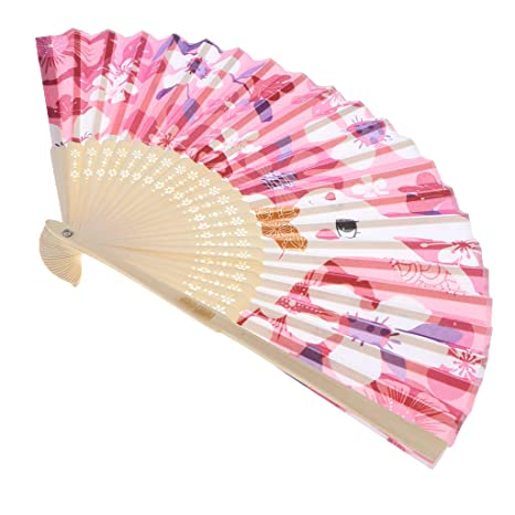Buy Magideal Vintage Bamboo Hand Folding Fan Japanese Style Cartoon